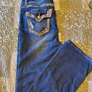 Grace in LA womens dripping diamond bootcut jeans
